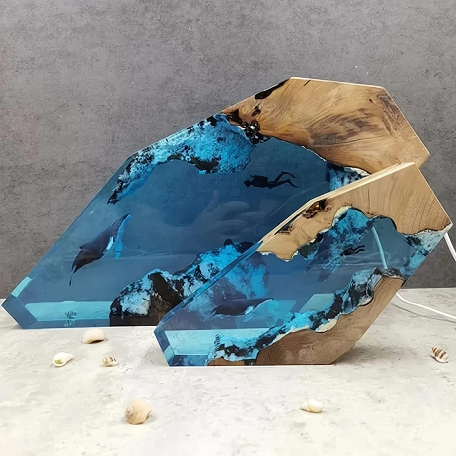 Large Epoxy Tucson Mall Resin Wood Light Lamp Diver Humpback Online limited product LED and Whale