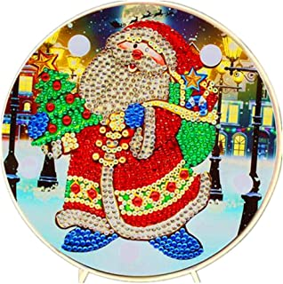 Diamond Painting Santa Claus LED Light 5D Full Drill by Number Kits Christmas Gifts or Embroidery Craft for Home Decoration-6.0in X 6.0in (Christmas-A)