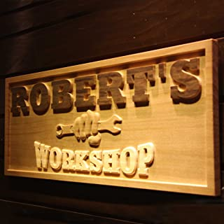 ADVPRO wpa0218 Name Personalized Workshop Garage Man Cave Wood Engraved Wooden Sign - Standard 23