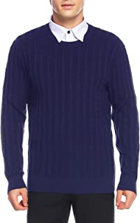 Men's Long Sleeve Cable Crewneck Sweater Knit Pullover