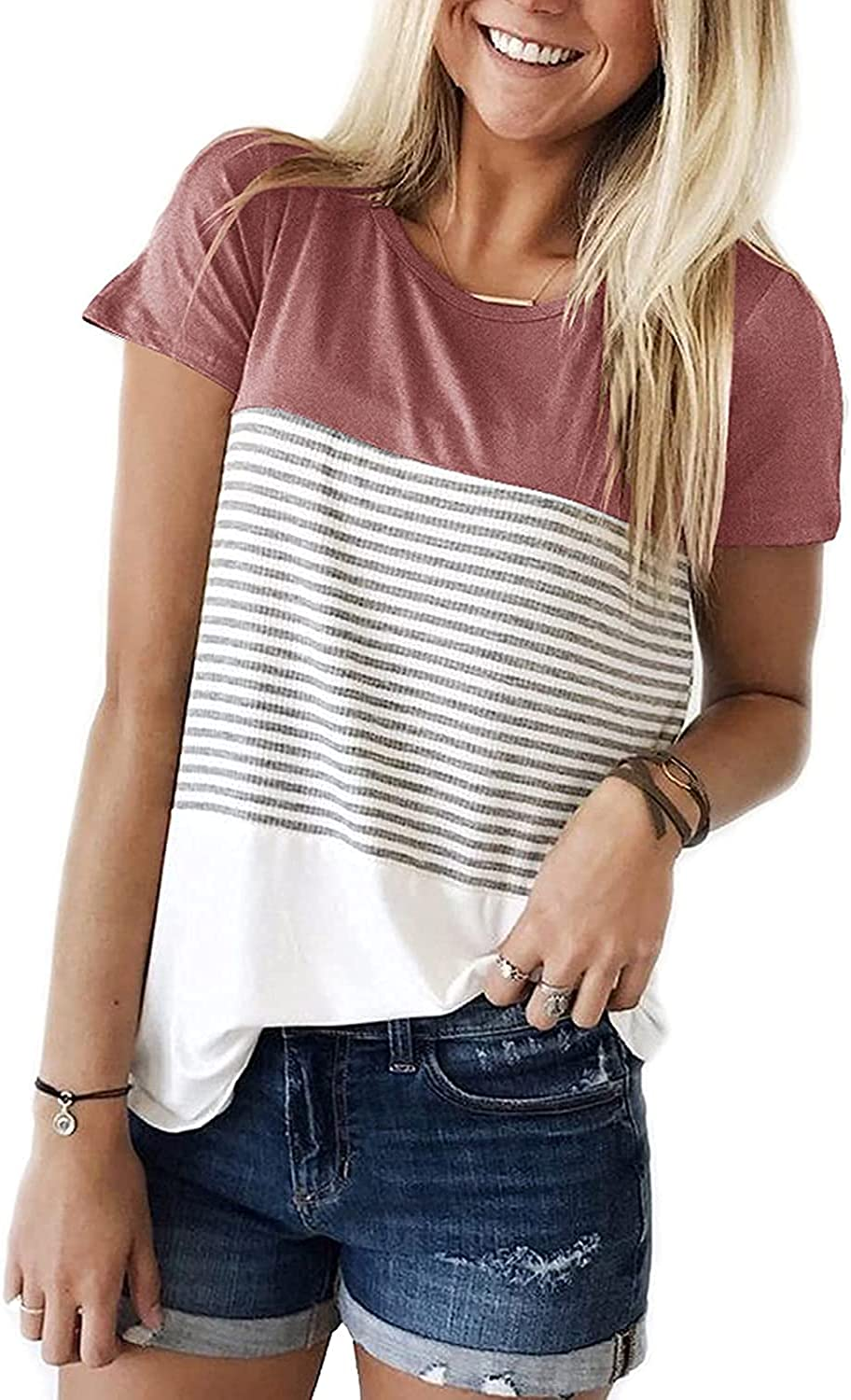Aygience Outlet sale feature Womens Short Sleeve Striped T-Shirt Block specialty shop Color