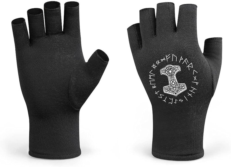 Vikings Mjolnir And Rune Wheel Norse Mythology Symbol Men Cycling Gloves Half Finger Women Winter Knitted Fingerless Lightweight Workout Short Black Gloves for Bike Mountain Shooting Hunting