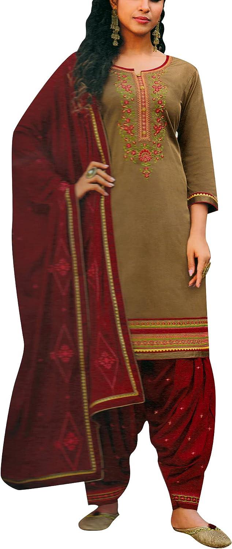 ladyline Patiala Salwar Kameez Cotton Embroidered with Chiffon Dupatta