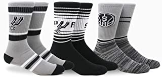 Pkwy NBA Unisex Crew Socks/Spurs Team 3 pk