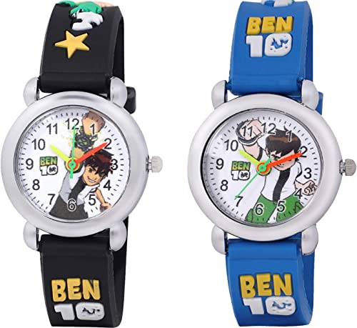 Shocknshop Analogue Boys Girls Watch White Dial Multicolor Strap Pack Of 2