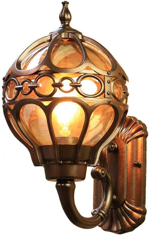 Aussenwandleuchte Kugellampe Messingfarben Kugelform Wasserdicht Aussen Kugel Wand Lampe Aussenleuchte Auenlampe Auenleuchte Wandleuchte Für Drauen Leuchte Auen Wandlampe Aus Aluminium (34CM)