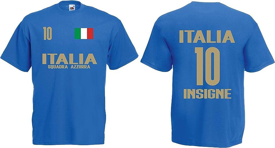 Italien-Italia Insigne Herren T-Shirt EM 2020 Trikot Look Style Squadra