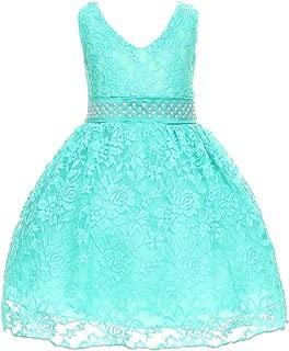 Dreamer P 小女童 V 型项链蕾丝覆盖花女孩连衣裙