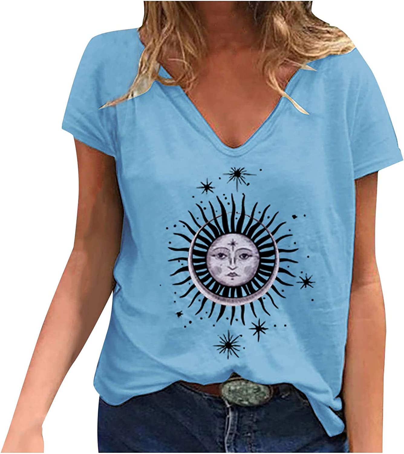 Women's Top,Womens Graphic Tees Summer Vintage Short Sleeve Moon and Sun Printed T Shirts V-Neck Tops