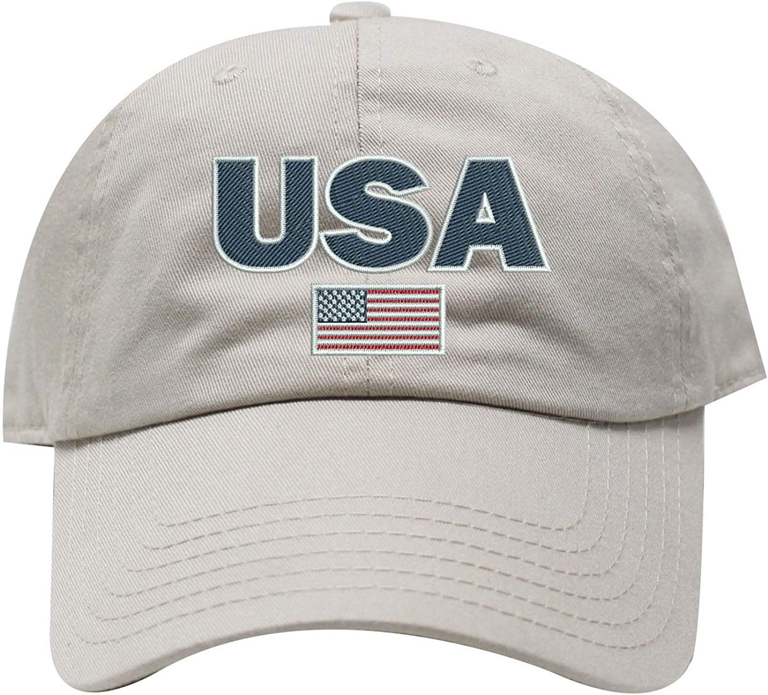 INK STITCH USA American Flag Unstructured Cotton Baseball Caps 21 Colors
