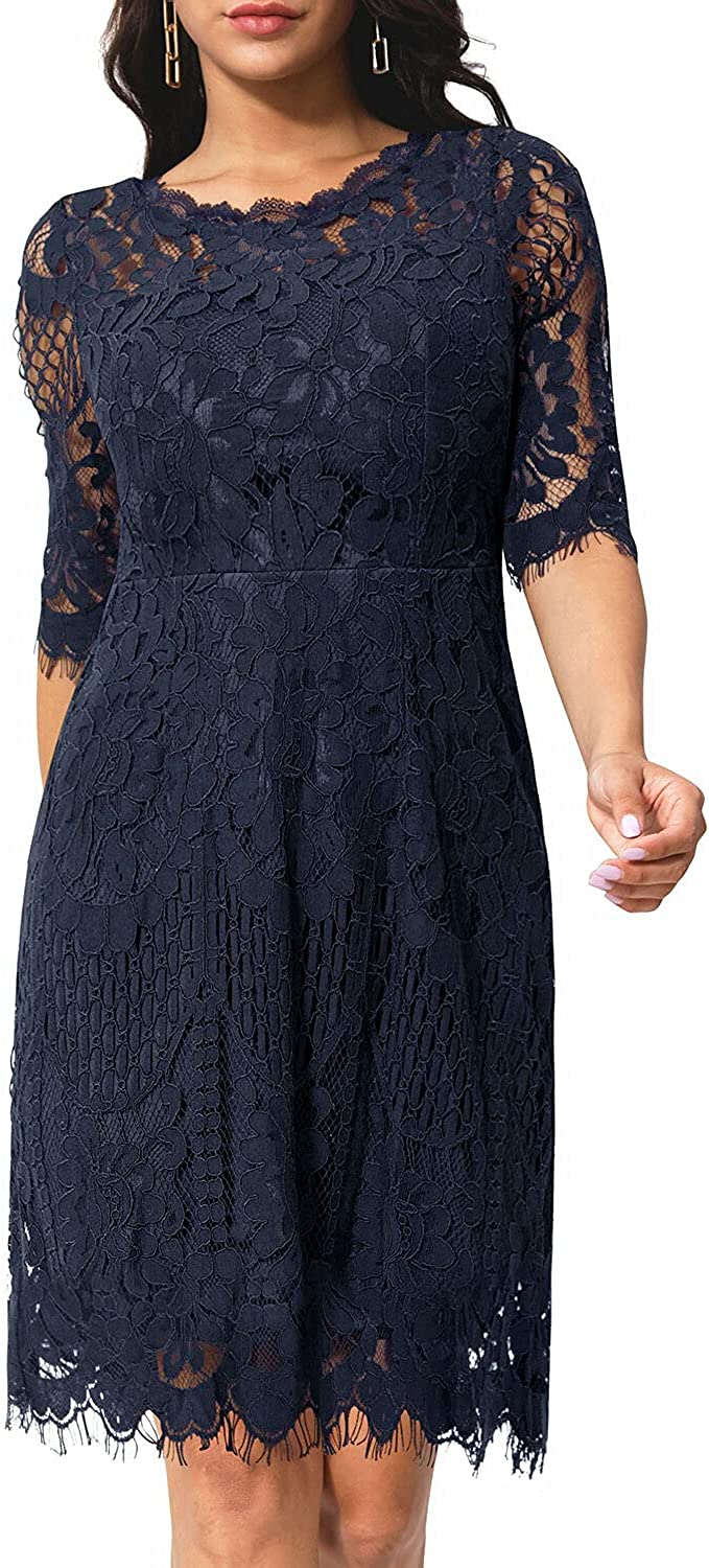Pinup Fashion Women's Elegant Max 49% OFF Floral Neck Round Length Knee Lace Washington Mall