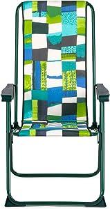 SOLENNY - Silla plegable de jardín con acolchado de 3 cm. de grosor, reposacabezas y 5 posiciones, estampado verde  y azul