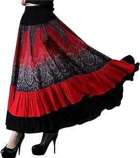 Yeokou Women's Bohemia Gypsy Floral Midi Long Red Flamenco Dance Swing Skirt