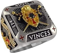 UNIQABLE Handcrafted Knight Templar Masonic Ring 18k Gold PLD Shield & Sword White Version 45 Gr BR-4