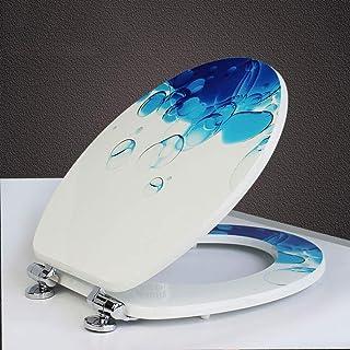 Wc-deksel, houten bedrukte wc-bril dik en super duurzaam solide toiletdeksel, onecolor-42.5~47.5cm * 37cm