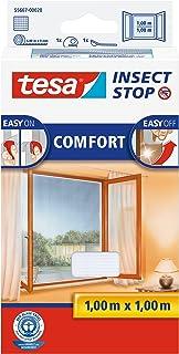 tesa Insect Stop Comfort vliegengaas voor ramen en insectenbescherming met zelfklevend klittenband (100 cm x 100 cm/3-pac...