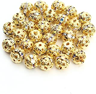 Linsoir Beads Round Crystal AB Stones Spacer Beads Gold Plated Hollow Metal Bracelet Beads 10mm Pack of 30 Pieces