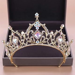 Diadem Bridal Hair Jewelry Crystal Beads Tiaras Rhinestone Crown Headpiece Women Wedding Hair Accessories,Gold
