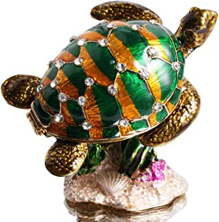 Waltz&F The Turtle Stranded on a Rock Hand-Painted Trinket Box Animal Jewelrybox Figurine Collectible Ring Holder with Gift Box
