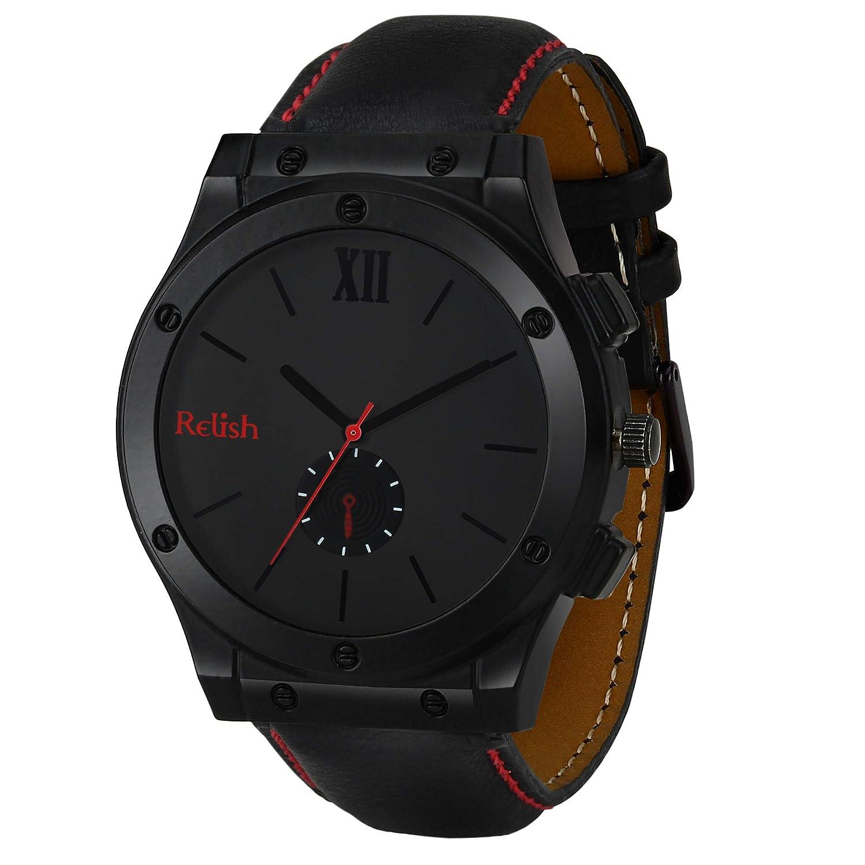 Relish Analogue Men's Watch   Black Dial   Strap   Wrist Watches