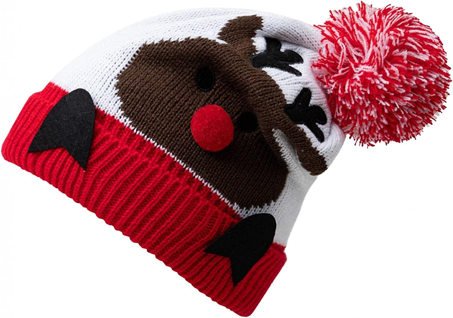 Limsea Christmas Caps for Women Autumn Winter Thick Lined Warm Knitted Beanie Boys Girls Cute Fur Pom Pom Skully Hats