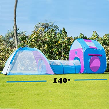 Unicorn Kids Play Tent with Tunnel - 3-in-1 Playhut Hours of Indoor Outdoor Fun Popup X-Large Ball Pit for Children (Pink and Blue)