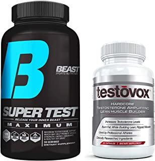 Beast Super Test Maximum and Testovox Bundle: Powerful Testosterone Booster, Muscle Builder and Nitric Oxide Supplement | Fat Burner, Test Booster Combo wi