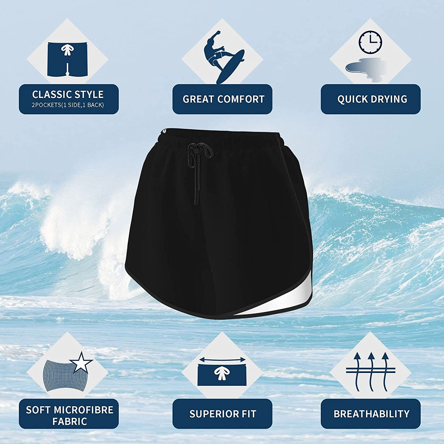 Women's Casual Elastic Waist Striped Summer Beach Shorts,Various Patches of Denim in Sea with Sailor Knot Rope On Foreground Image Art XL