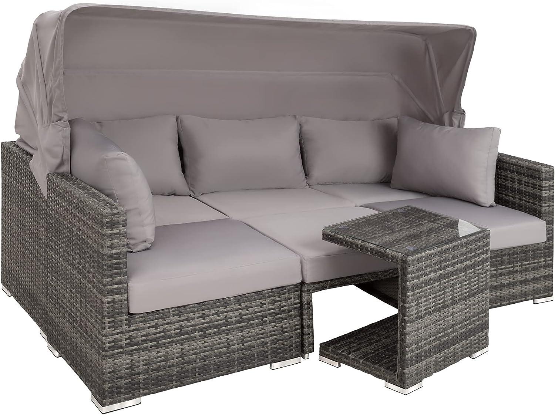TecTake 20 Aluminium Poly Rattan Lounge Set, 20 teilig, wetterfest,  Garten Sofa mit Sonnendach, Outdoor Sitzgruppe inkl. Kissen und  Beistelltisch ...