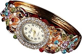 BCDshop Watch Women Luxury Fashion Casual Quartz Elegant Crystal Wristband Bangle Watch
