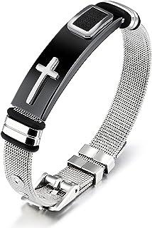 Reizteko Stainless Steel Bracelet for Men Bangle for Women Cross The Honor of Knight Mesh Chain Silver 21CM Adjustable (Si...
