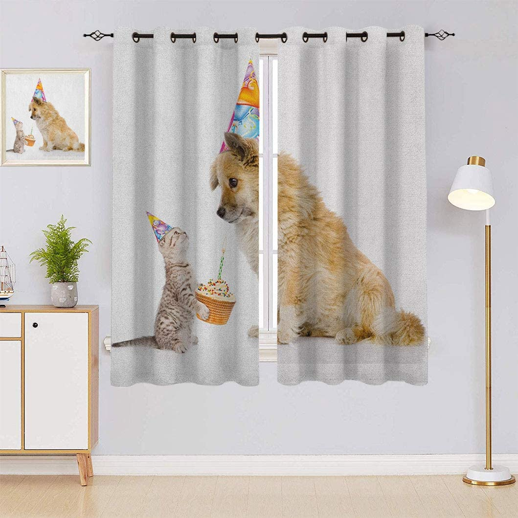 Kids Birthday Thermal Insulated Curtains wholesale OFFicial site Dog Domestic Cat and A