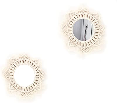 Boho Mirror, Round Bohemian Macrame Decorative Mirror