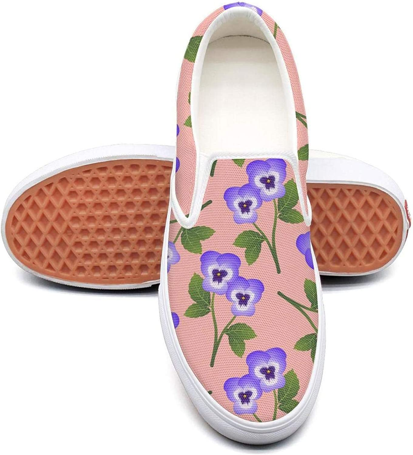 Sernfinjdr Women's purple Pansy Flower on Pink Fashion Casual Canvas Slip on shoes Trendy Cycling Sneaker shoes