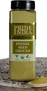 Pride Of India - Organic Fennel Seed Ground - 22 oz (623 gm) Large Dual Sifter Jar - Certified Pure Indian Spice - Used to...
