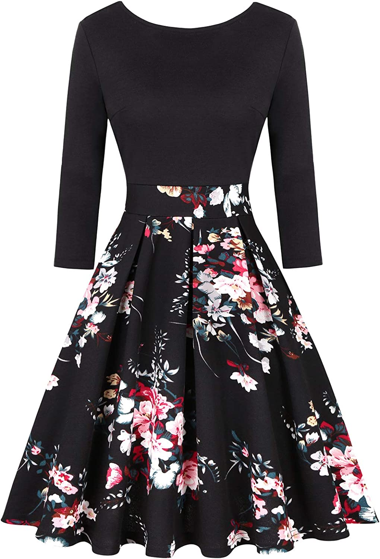 MINTLIMIT Women's Vintage Dresses Party Floral Swing 3/4 Sleeve A-line Elegant Dress