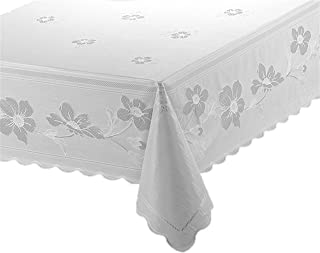 RoussoUSA White Vinyl Tablecloth Full Coverage Protection in Pretty Floral Design For Kitchen or Dining Room EZ Care: Damp Wipe or Machine Wash plus Cool Dryer Safe to Remove Wrinkles (54 x 72 inches)