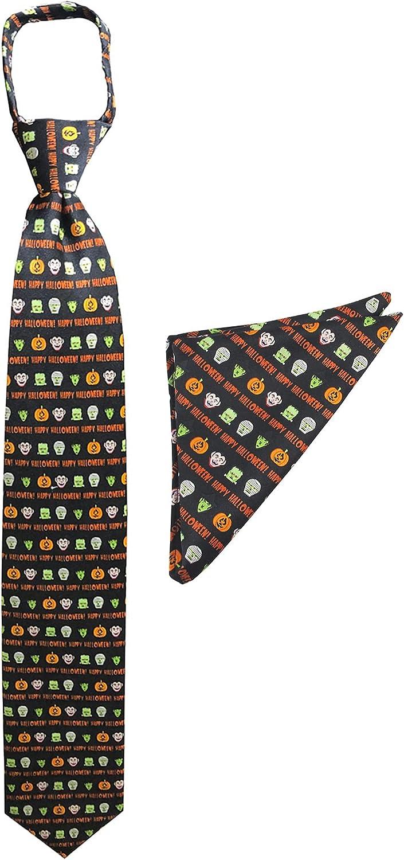 2 Piece Set: Jacob Alexander Men's Happy Halloween Monsters Zipper Neck Tie and Pocket Square