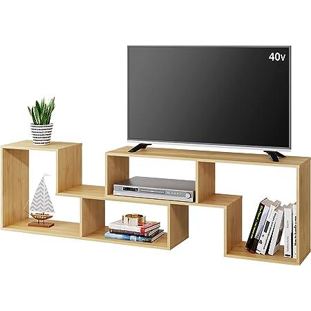 DEVAISE テレビ台 テレビラック テレビボード ローボード 伸縮 幅105~210cm 60インチまで対応 コーナー 収納ラック 2点セット 簡単組立 オーク ナチュラル 木目 ORADSG602QX