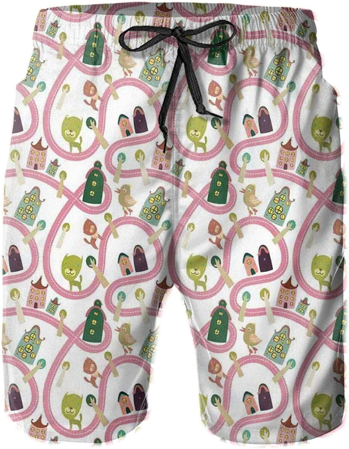 Cats and Birds On The Road with Cartoon Houses Fantasy Town Pattern Printed Beach Shorts for Men Swim Trucks Mesh Lining,XXL