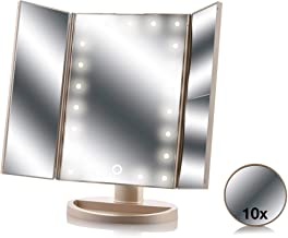 Asani Tri-Fold Lighted Magnification Makeup Mirror with a FREE 10X Spot Mirror | 21 LED Lights & Touch Controls | 1X / 2X & 3X Magnifying Cosmetic Vanity Folding Mirrors for Dresser | Free Rotation
