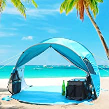 WolfWise UPF 50+ Easy Pop Up 3-4 Person Beach Tent Sport Umbrella Instant Sun Shelter..