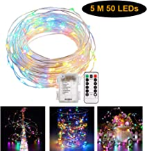 Fairy String Lights, 50 LEDs Copper Wire Light Battery Operated Waterproof Lighting with Remote Control for Home, Lawn, Garden, Patio, Party, Holiday Decoration (Multi-Color)