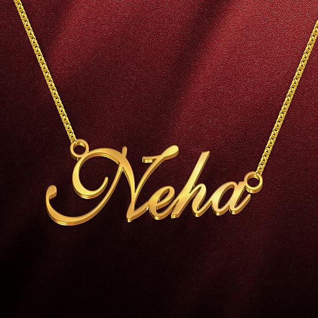 Dreamrax Neha Cursive Gold & Silver Name Pendant Necklace