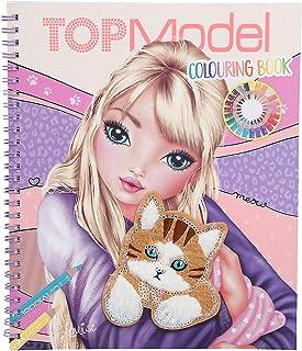 Depesche-DP-0011450 TOPModel-Libro 40 Gatos para Colorear y Hoja de Pegatinas, diseño de Gato con Pelo y Lentejuelas en la...