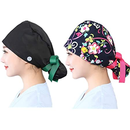 cubierta para la cabeza ajustable sombreros con lazo para la espalda ASIGA Gorra de trabajo para mujer con bot/ón y banda para el sudor gorro gris Paisley Bandana gorro reutilizable