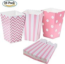 Diealles 36PCS Mini Caja de Fiesta de Palomitas Contenedor de Dulces para Los Bocados del Partido, Los Dulces, Las Palomitas y Los Regalos - Rosa