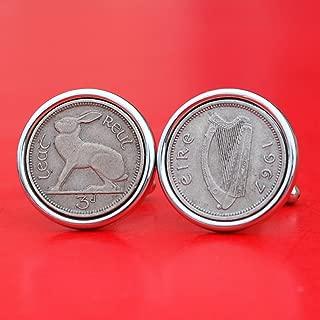 1967 Irish Ireland 3 Pence Harp Coins Silver Plated Cufflinks NEW - Lucky Rabbit Hare