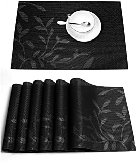(6, Black) - Placemats,HEBE Placemats for Dining Table Set of 6 Creative Heat Insulation Stain Resistant Anti-Skid Eat Mat...