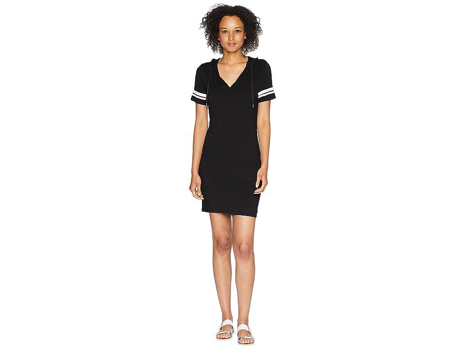 MICHAEL Michael Kors Stripe Sleeve Hoodie Dress (Black) Women